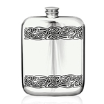 Gwenhwyfar Stamped Pewter Flask 6 Ounces