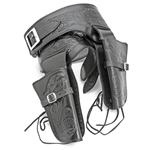 Double Rig Embossed Leather Holster Set - Med Waist