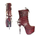 Burgundy Platform Lace-Up Boots